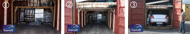 Chargement de conteneur maritime par des professionnels